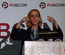 SEO Speaker Carolyn Shelby presenting on Technical Organic SEO at PubCon Las Vegas 2012